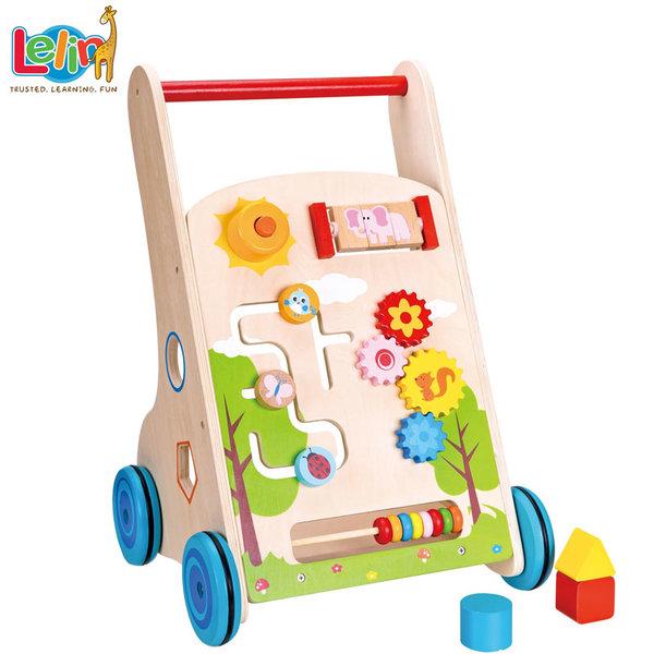 Lelin Toys - Дървена бебешка проходилка 10128