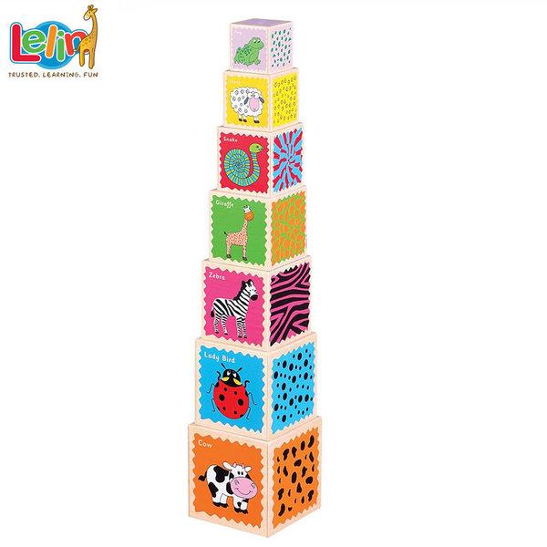 Lelin Toys Дървени кубчета кула 10031