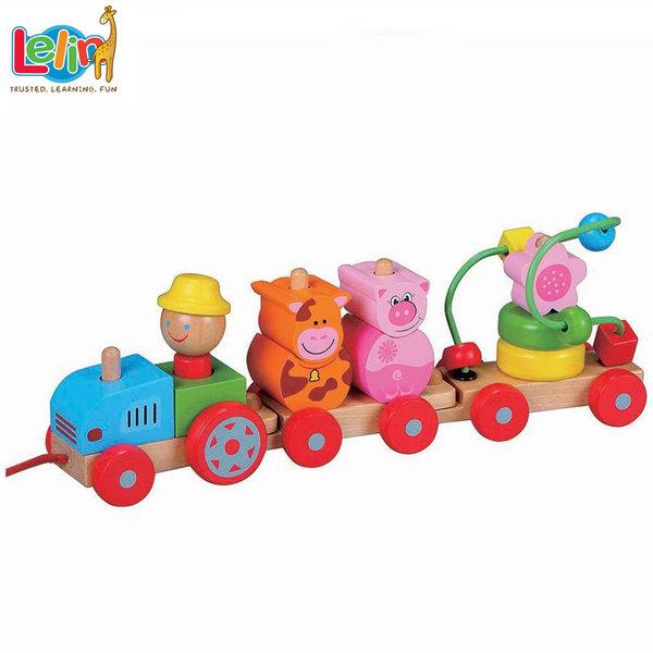 Lelin Toys Дървено дидактическо влакче за дърпане 10017