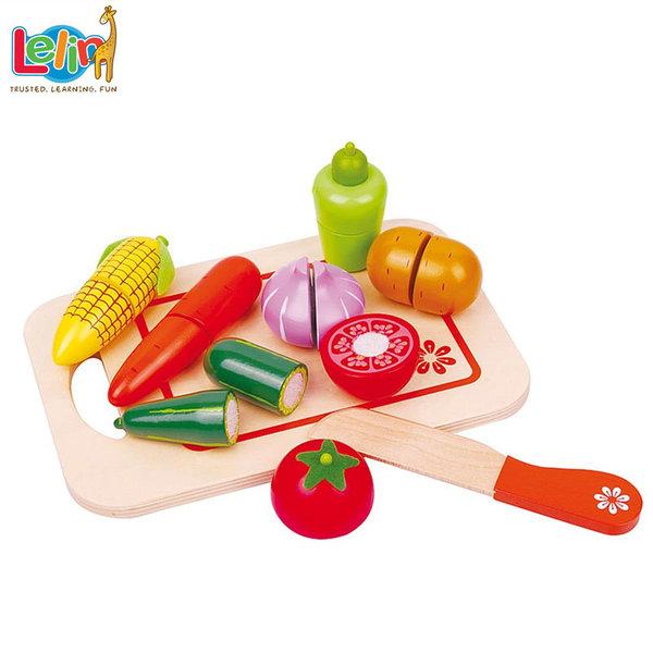 Lelin Toys - Дървени зеленчуци за рязане с дъска 40047