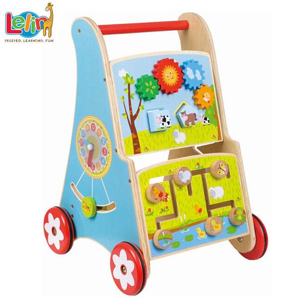 Lelin Toys - Дървена бебешка проходилка с часовник 10209