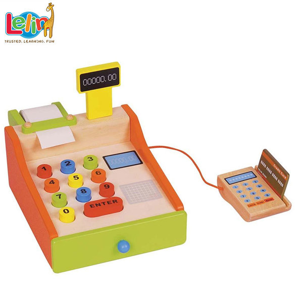 Lelin Toys Детски дървен касов апарат с пос терминал 40061