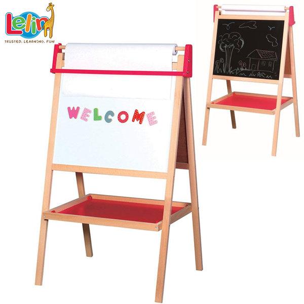 Lelin Toys Дървена двустранна дъска за рисуване с хартия 30013