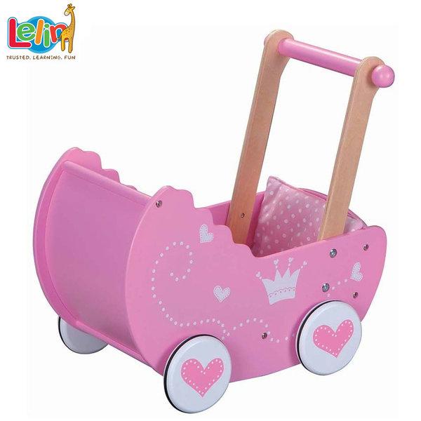 Lelin Toys Дървена количка за кукли Принцеса 30017