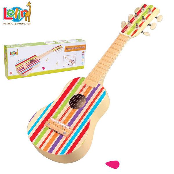 Lelin Toys Дървена детска китара  цветни ленти 20032