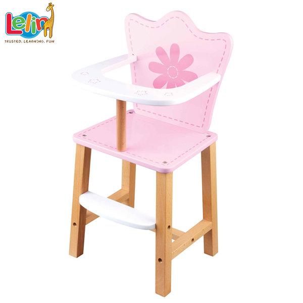 Lelin Toys Дървено столче за хранене на кукла 31006