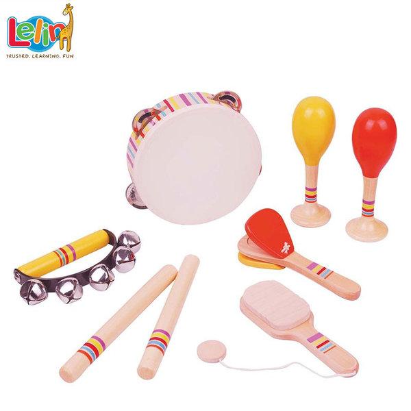 Lelin Toys Комплект дървени музикални инструменти 21003