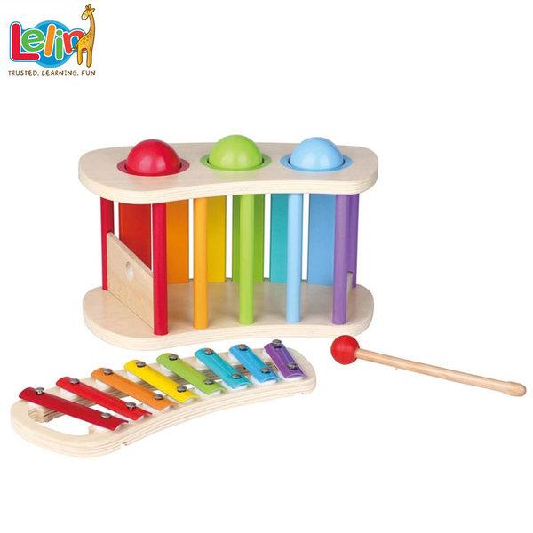 Lelin Toys - Бебешки дървен ксилофон с чукче и топки 21014