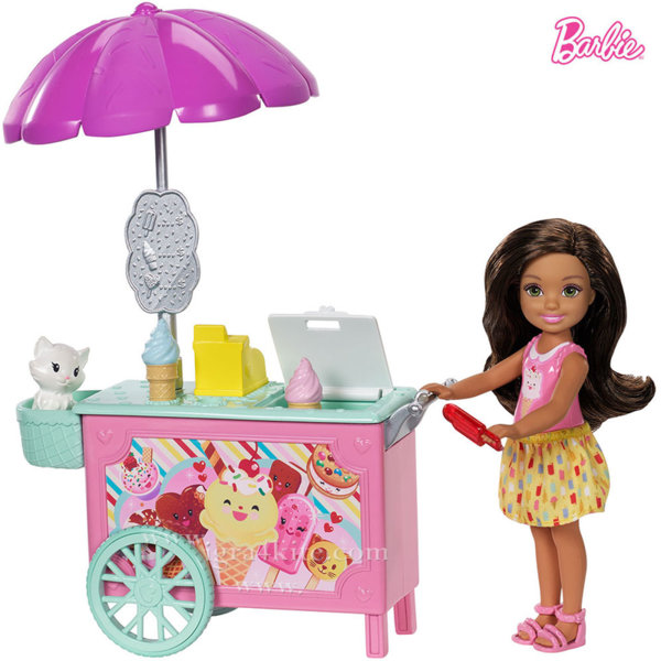 Barbie - Челси с количка за сладолед FDB32