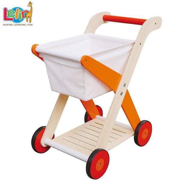 Lelin Toys Дървена количка за пазаруване 40100