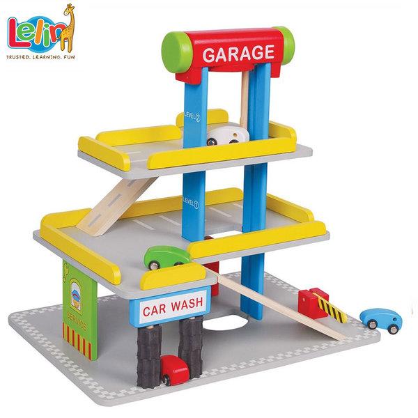 Lelin Toys Детски дървен паркинг с автомивка и бензиностанция 50043