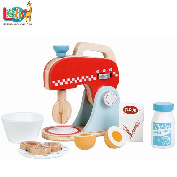 Lelin Toys - Детски дървен миксер с продукти 40145