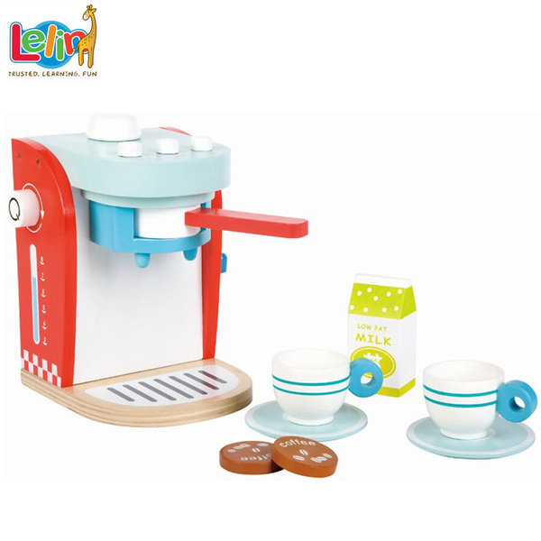 Lelin Toys - Детскa дървенa кафе машина със сервиз за кафе 40146