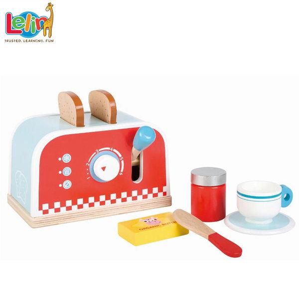 Lelin Toys - Детски дървен тостер с комплект за закуска 40147
