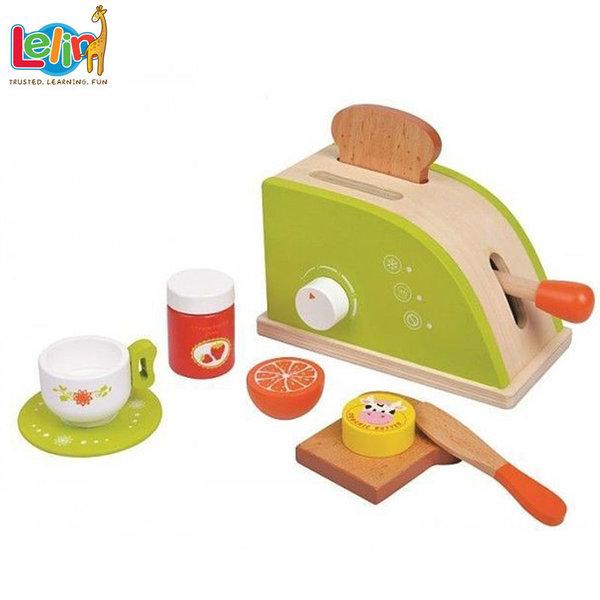Lelin Toys - Детски дървен тостер с аксесоари 40075
