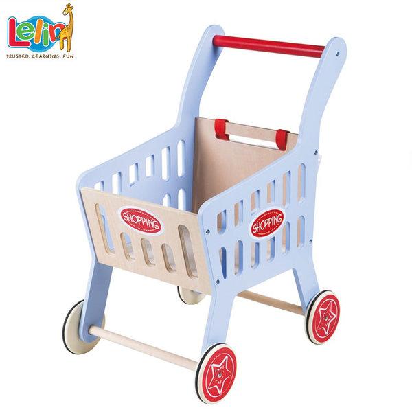 Lelin Toys Дървена количка за пазаруване 40166
