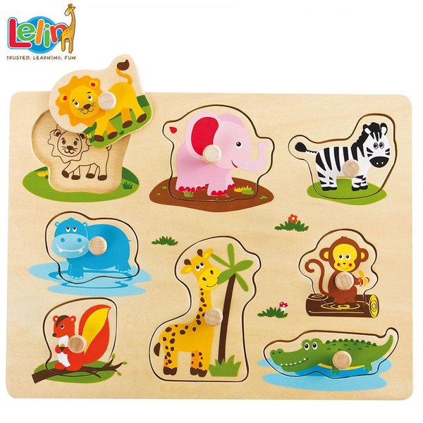 Lelin Toys - Детски дървен пъзел с дръжки и подсказки Африкански животни 20065