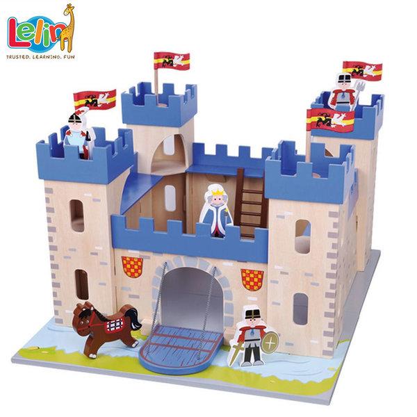 Lelin Toys Детски дървен замък с фигури 50074