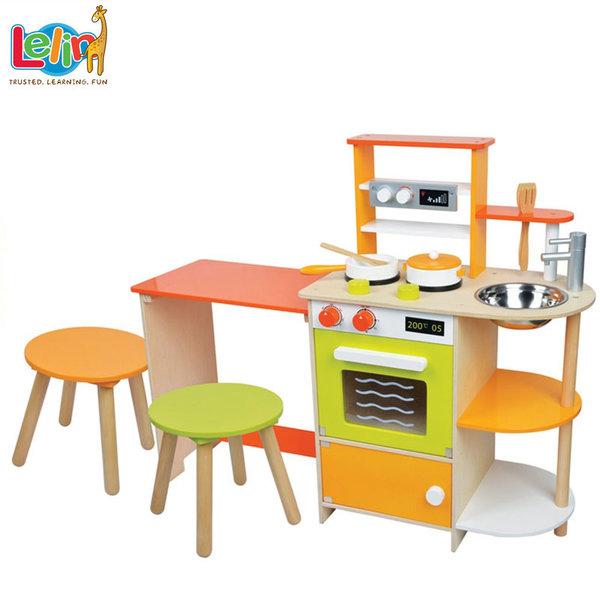 Lelin Toys - Детскa дървенa кухня с барплот 40090