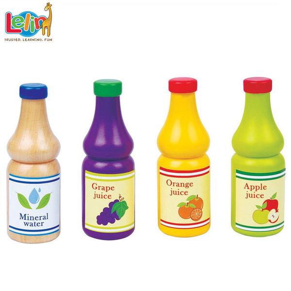 Lelin Toys - Комплект дървени бутилки със сок 40044