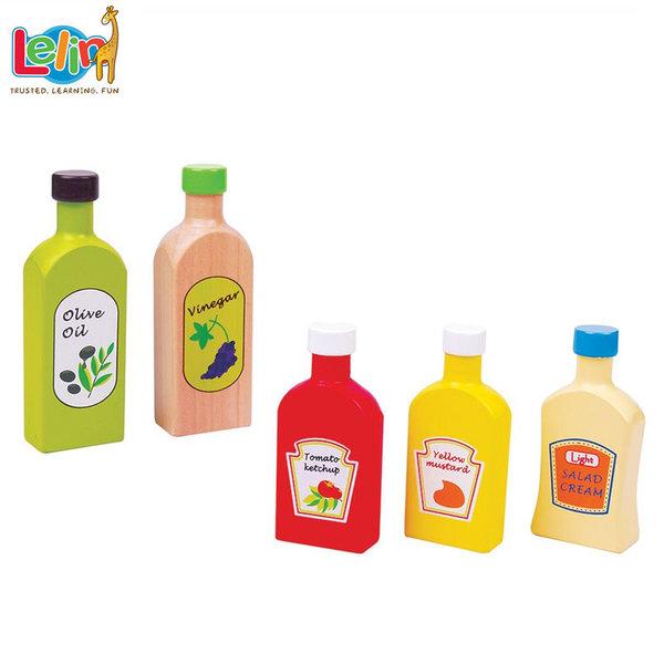 Lelin Toys - Комплект дървени бутилки сосове 40043