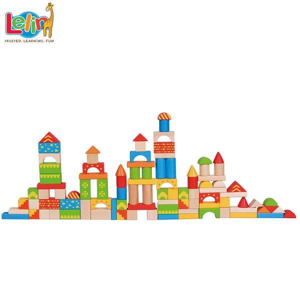 Lelin Toys Детски дървен конструктор в кофа 10084