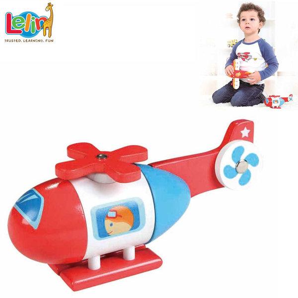 Lelin Toys Детски дървен хеликоптер с магнити 10187