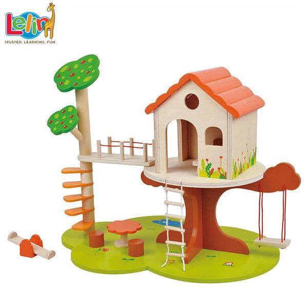 Lelin Toys Детска дървена къща на дърво 50049