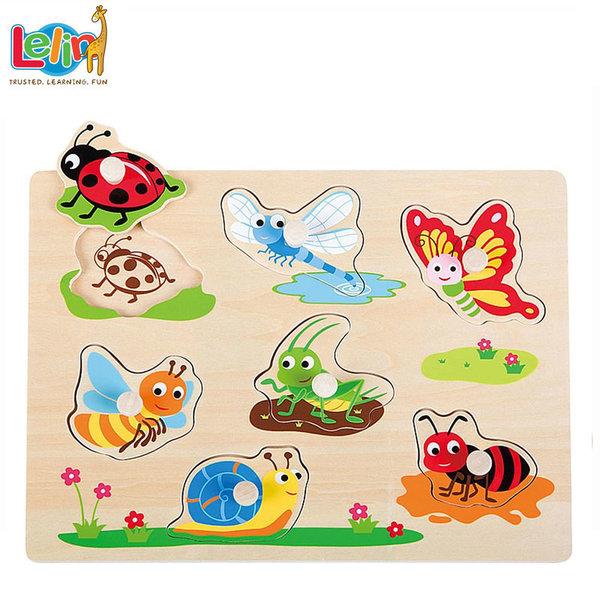 Lelin Toys - Детски дървен пъзел с дръжки Буболечки 20085