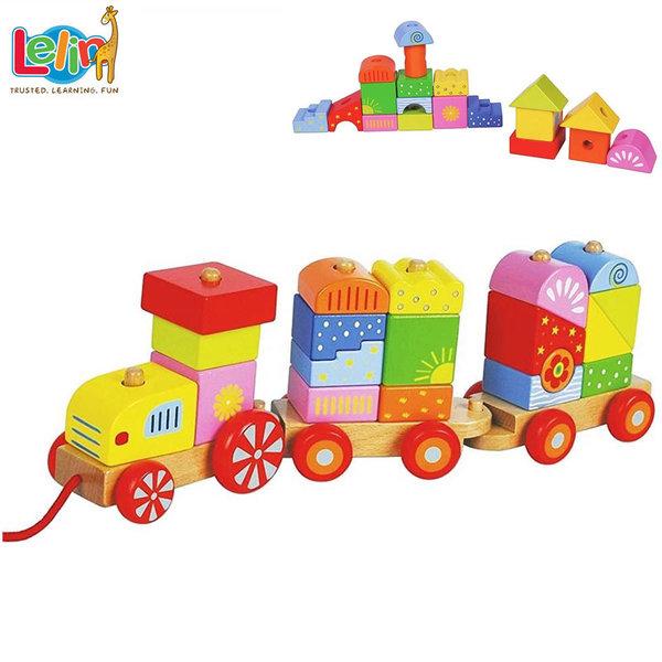 Lelin Toys Дървено дидактическо влакче за дърпане 10067