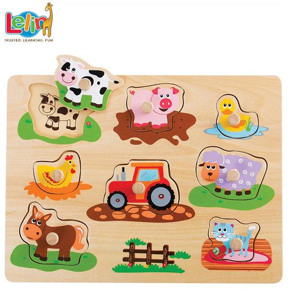Lelin Toys - Детски дървен пъзел с дръжки и подсказки Ферма 20064