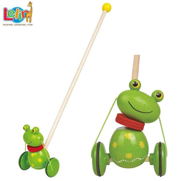 Lelin Toys - Детска дървена играчка за бутане Жабче 10109