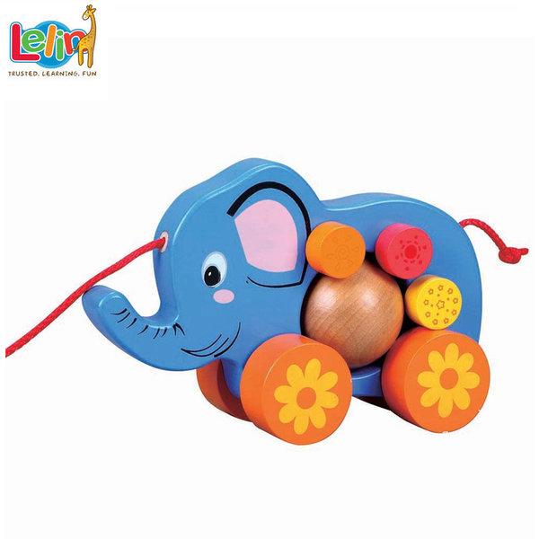Lelin Toys - Детска дървена играчка за дърпане Слонче 10016