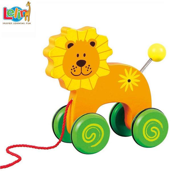 Lelin Toys - Детска дървена играчка за дърпане Лъвче 10014