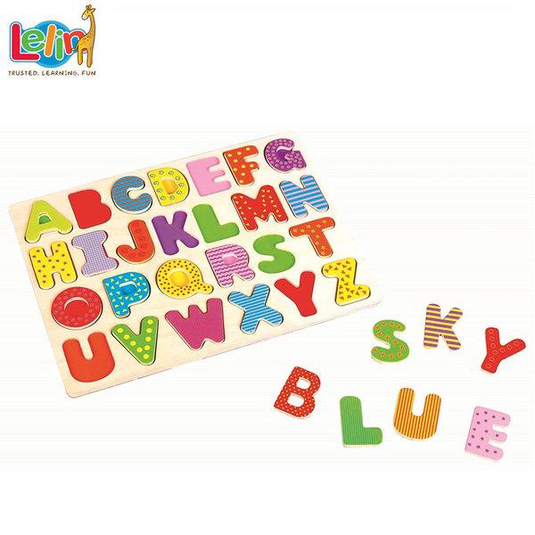 Lelin Toys Дървен пъзел Английска азбука 20002