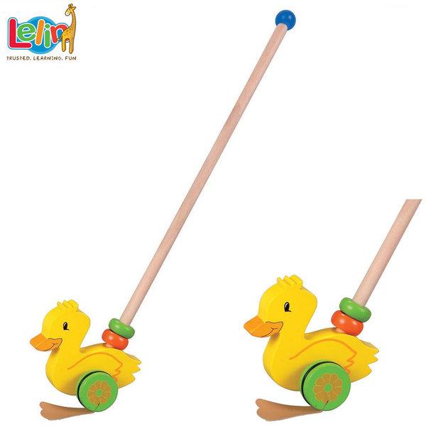 Lelin Toys - Детска дървена играчка за бутане Пате 10010