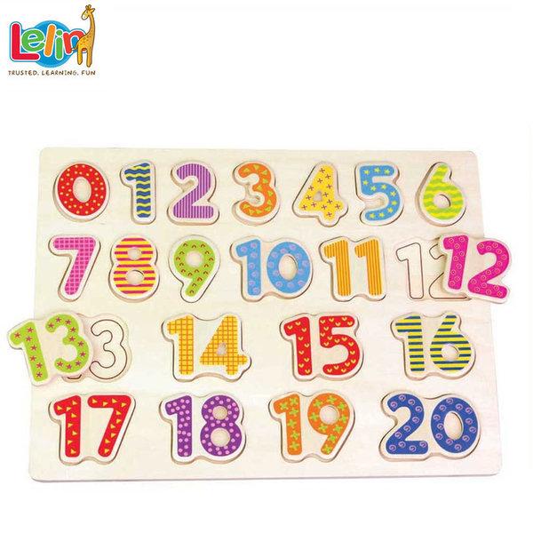 Lelin Toys Детски дървен пъзел числа 20001