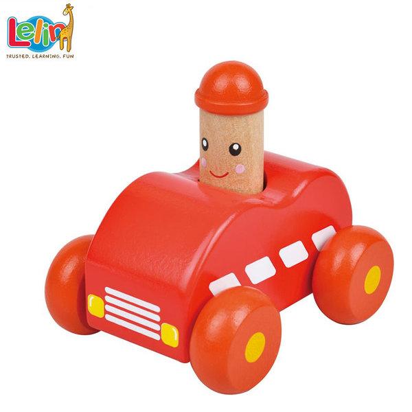 Lelin Toys - Бебешка дървена количка със звук 10143