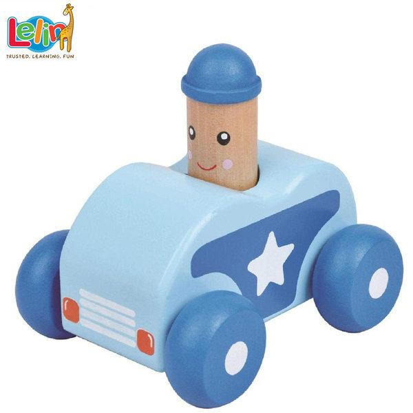 Lelin Toys - Бебешка дървена количка със звук 10145