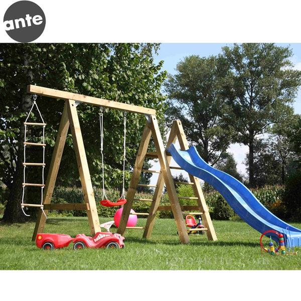 Ante - Детска дървена люлка с катерушка и въжена стълба 280617