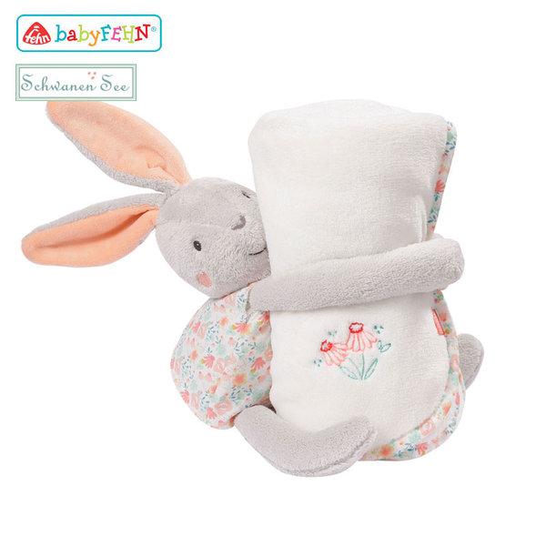 Baby Fehn Schwanen See - Плюшена играчка Зайче с одеялце за детето 62175