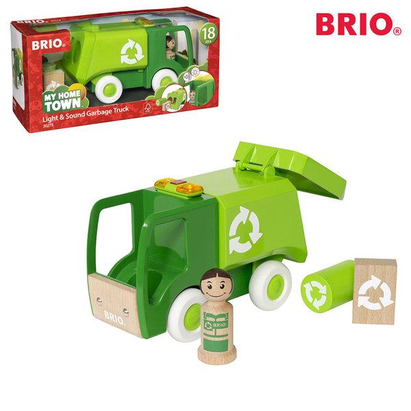 1Brio - Дървен камион за боклук със звук и светлина 30728