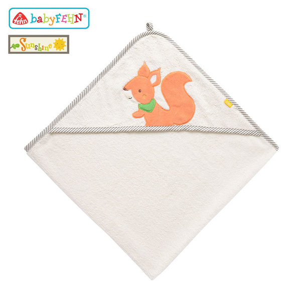 Baby Fehn Sunshine - Бебешка хавлиена кърпа с качулка Катеричка 61192
