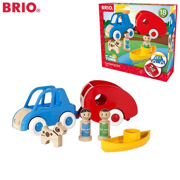 1Brio - Дървена играчка Комплект за къмпинг с каравана 30316