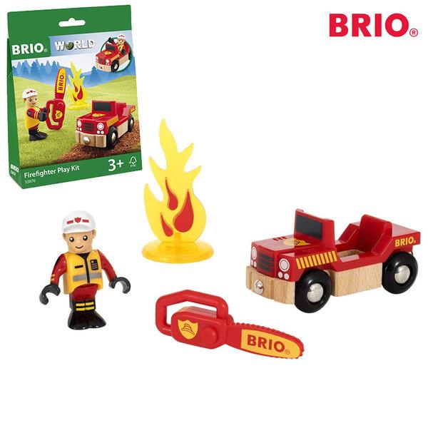 1Brio - Дървен пожарникарски комплект 33876