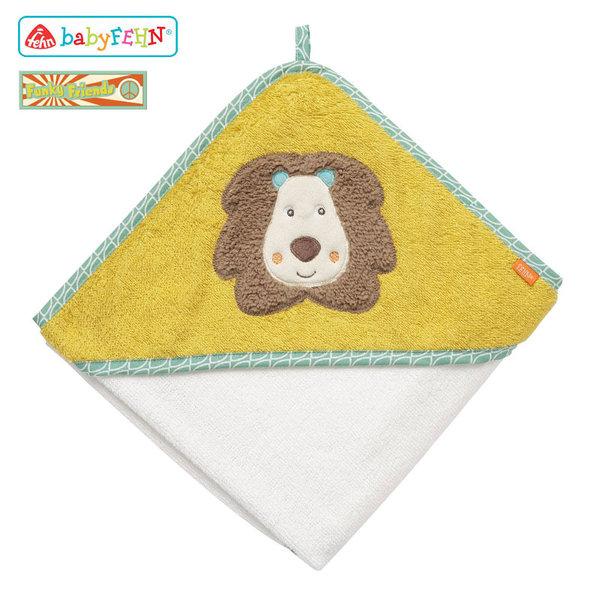 Baby Fehn Funky Friends - Бебешка хавлиена кърпа с качулка Лъвче 66258