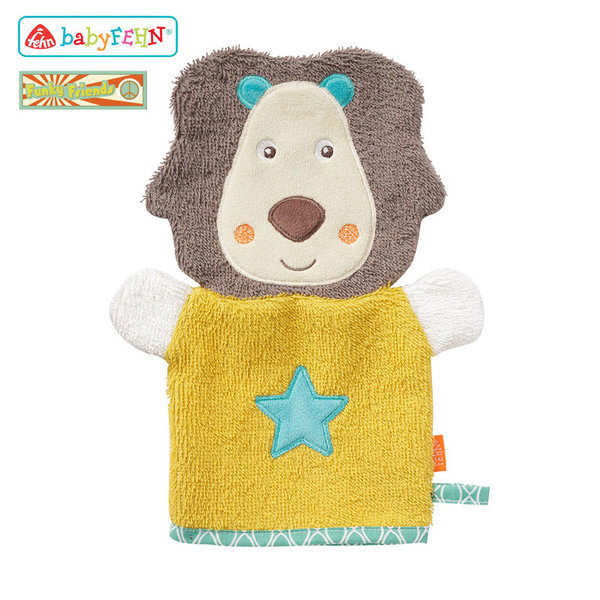 Baby Fehn Funky Friends - Бебешка хавлиена ръкавица за баня Лъвче 66265