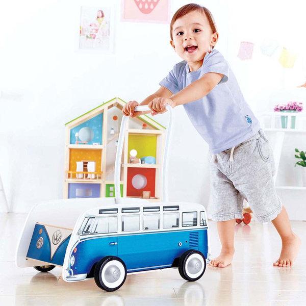 Hape - Детска дървена проходилка Blue Bus H0381