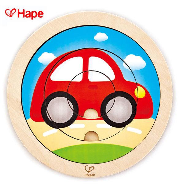 Hape - Дървен кръгъл пъзел превозни средства H1605