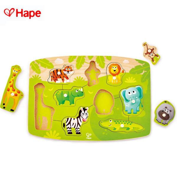 Hape - Детски дървен пъзел диви животни H1405